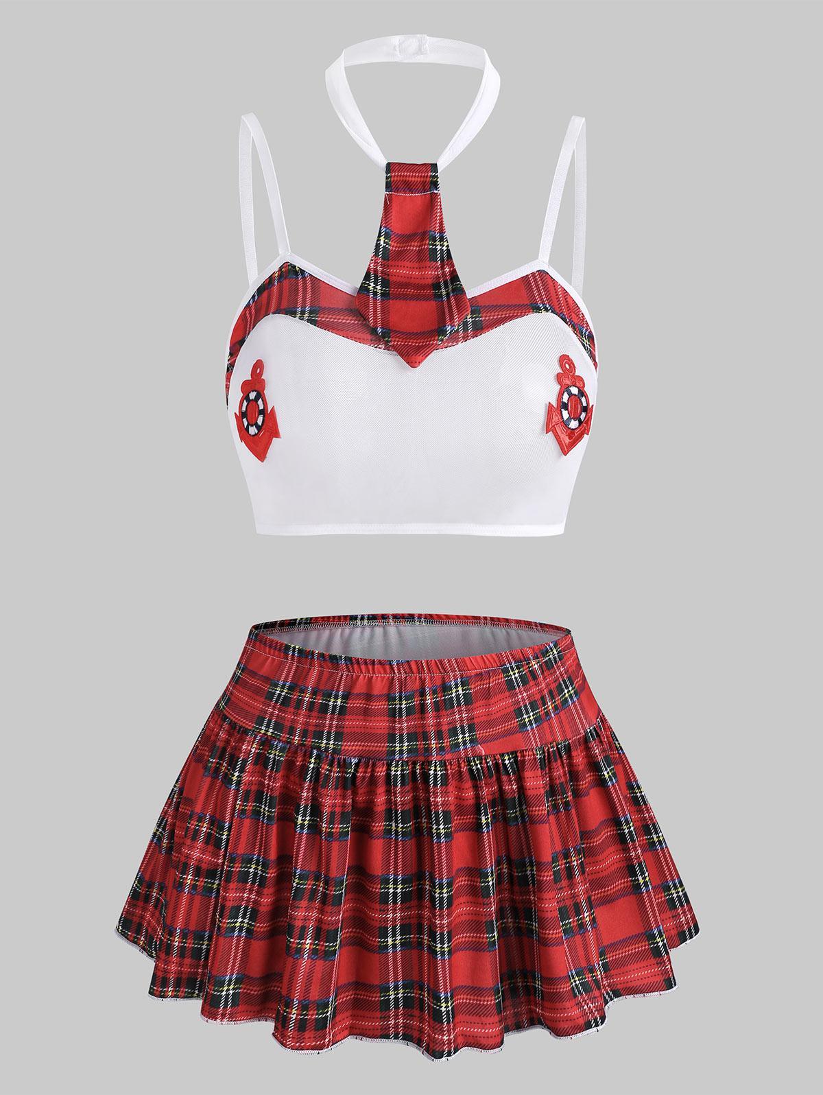 Plaid Mesh See Thru Bralette Set with Skirt