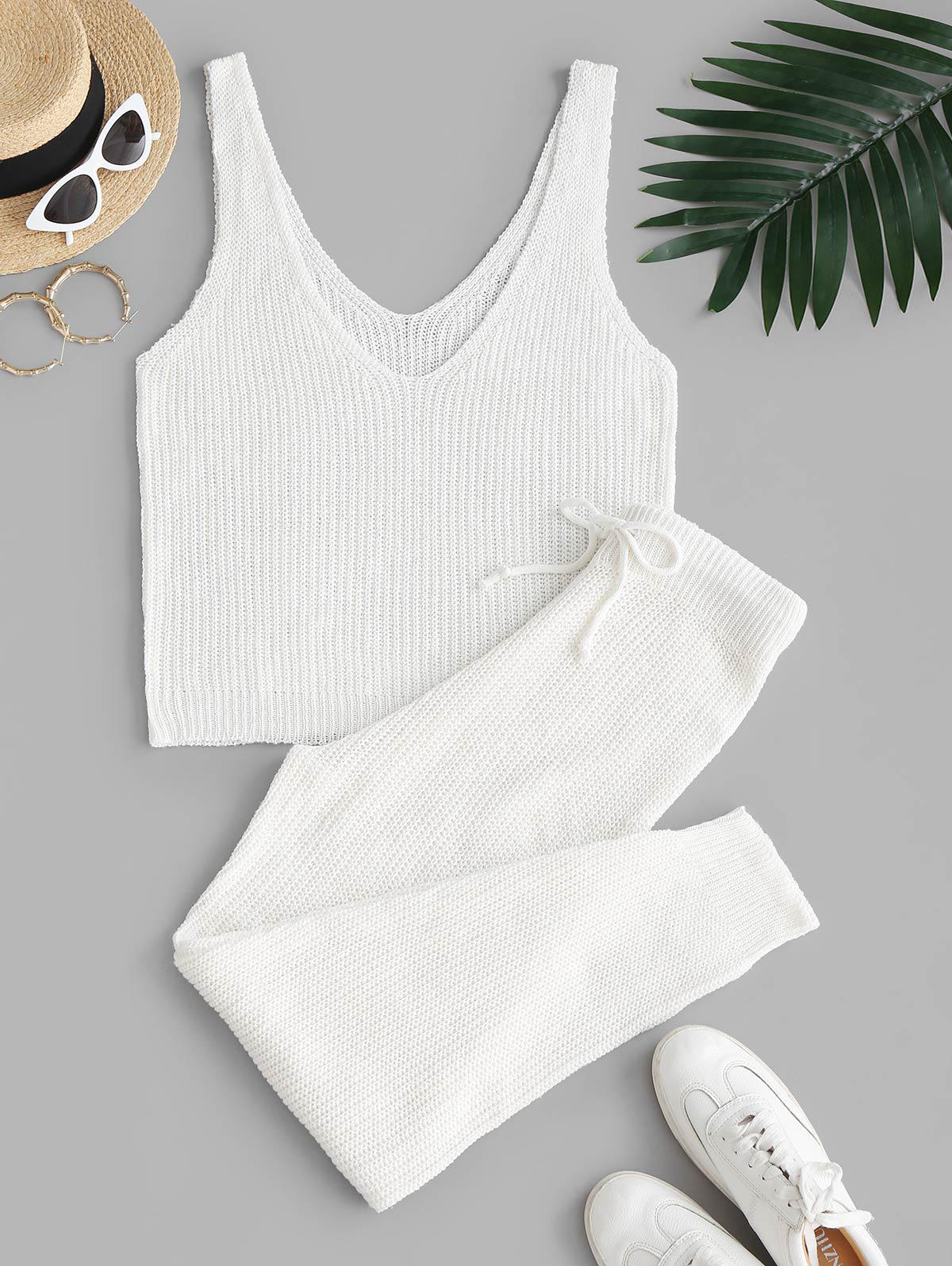 Knitted Solid V Neck Two Piece Set