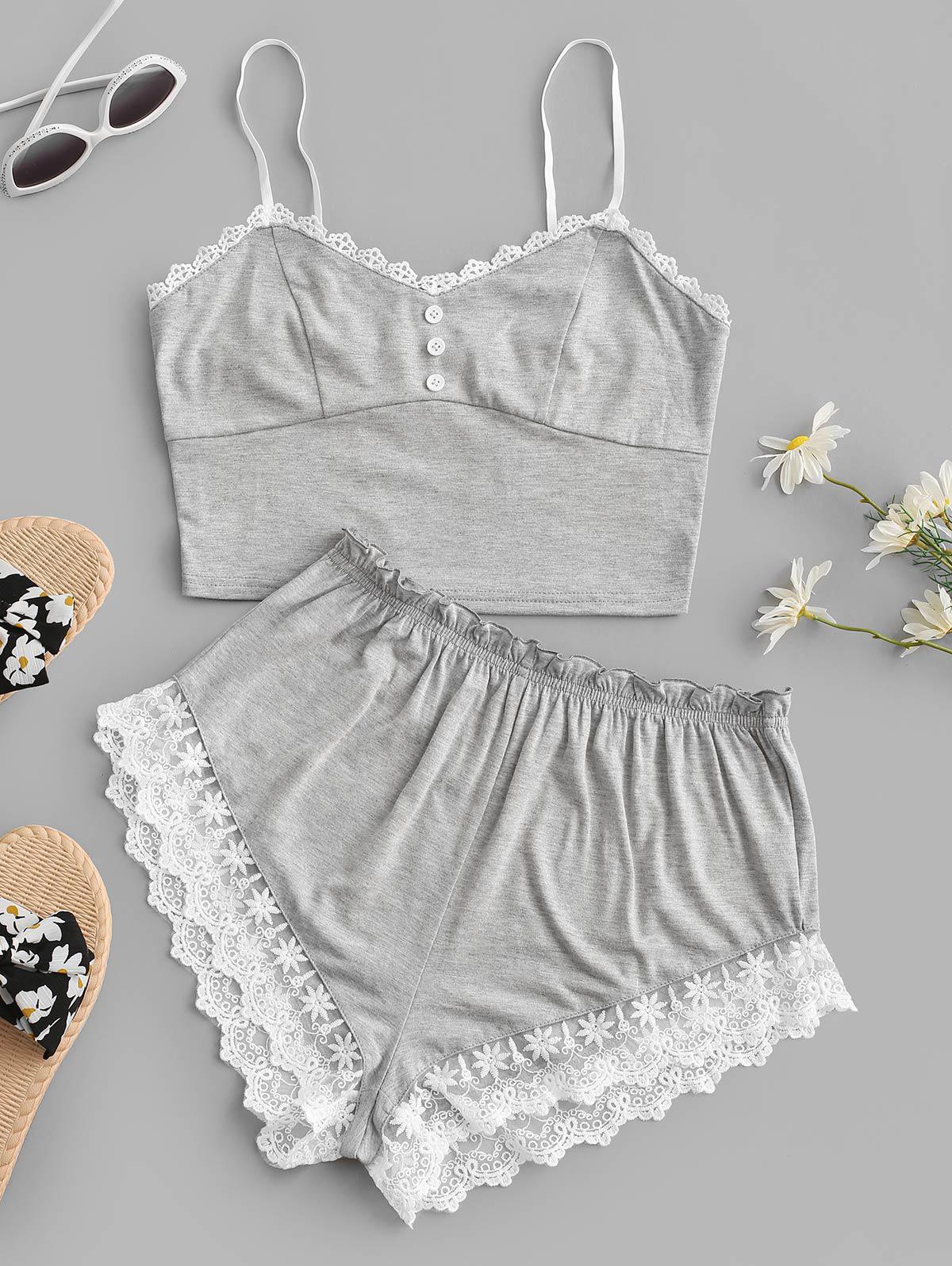 zaful Lace Panel Button Embellished Shorts Set