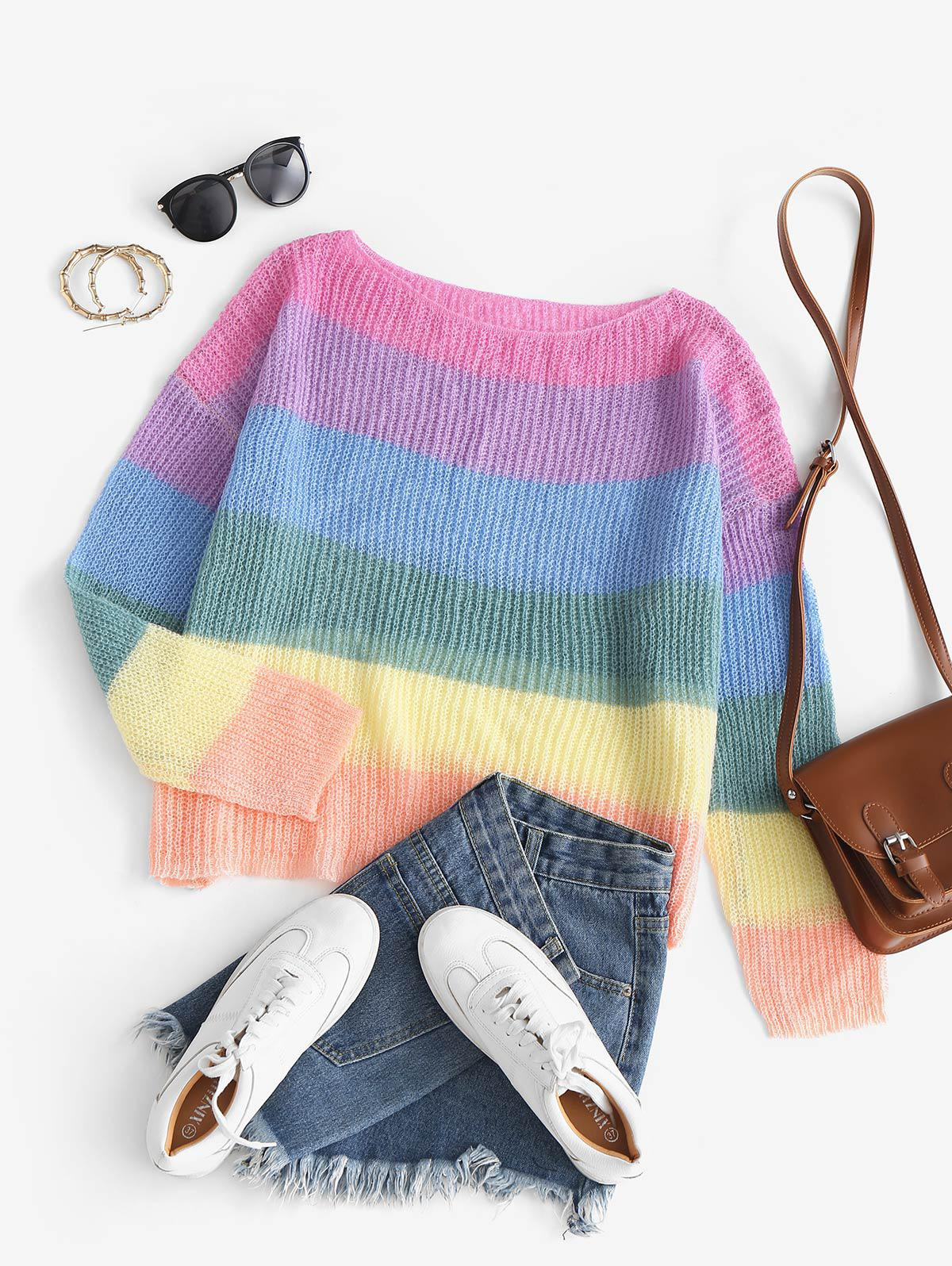 Striped Rainbow Oversized Knit Sweater