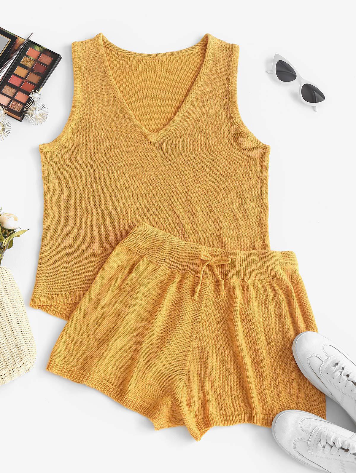 High Low Tank Top and Mini Shorts Knitwear Set
