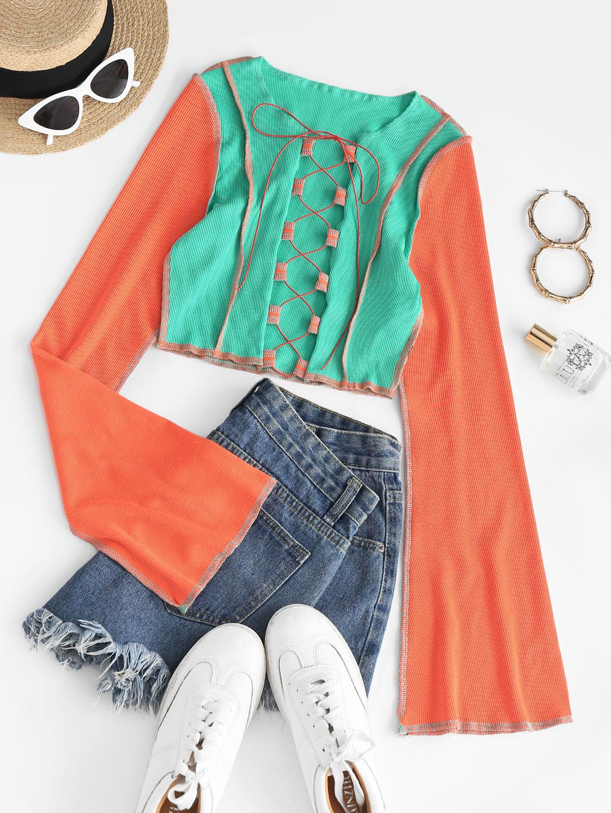 Reverse Colorblock Topstitching Lace-up Bell Sleeve Ribbed Crop Top