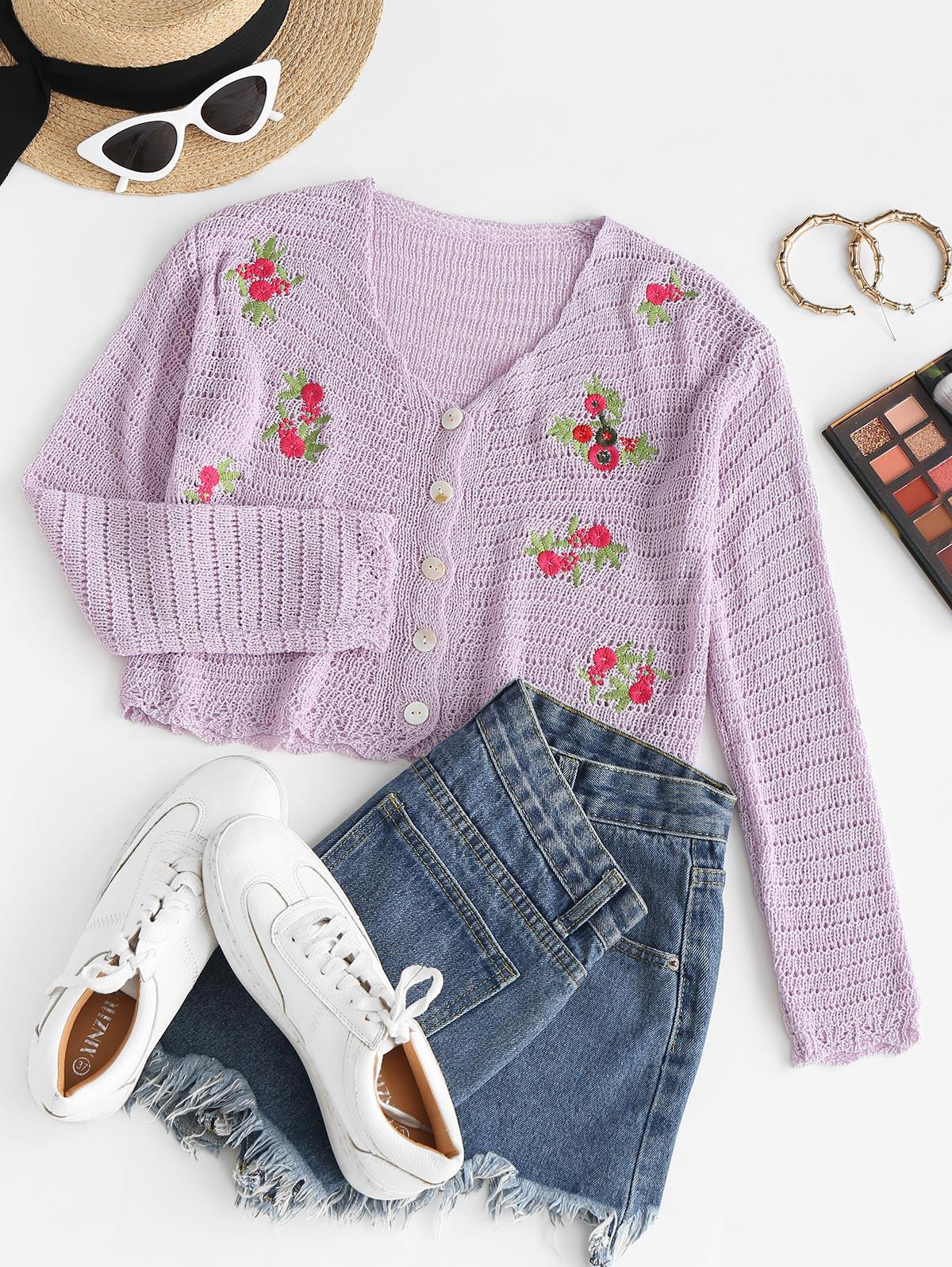 Embroidered Pointelle Knit V Neck Cardigan
