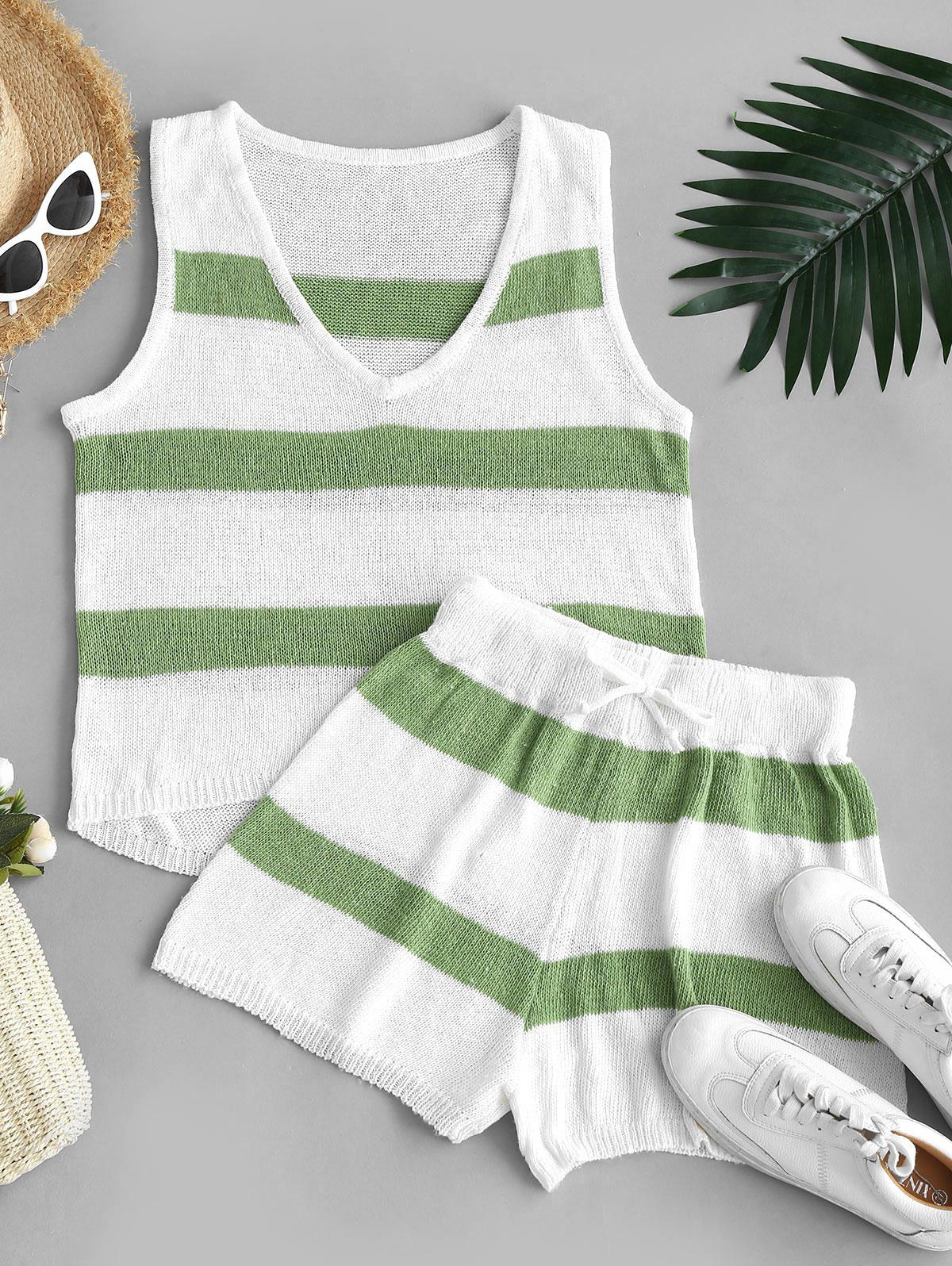 Striped High Low Tank Top and Mini Shorts Knitwear Set