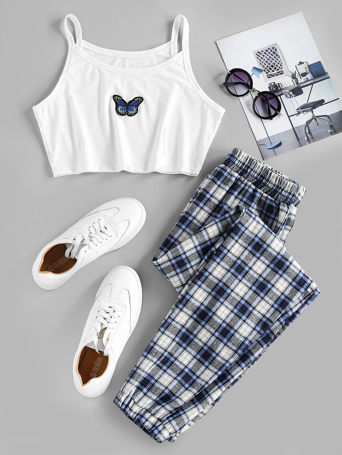 ZAFUL Plaid Butterfly Embroidery Two Piece Pants Set