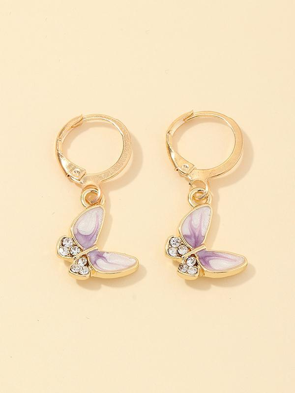Butterfly Rhinestone Small Hoop Earrings