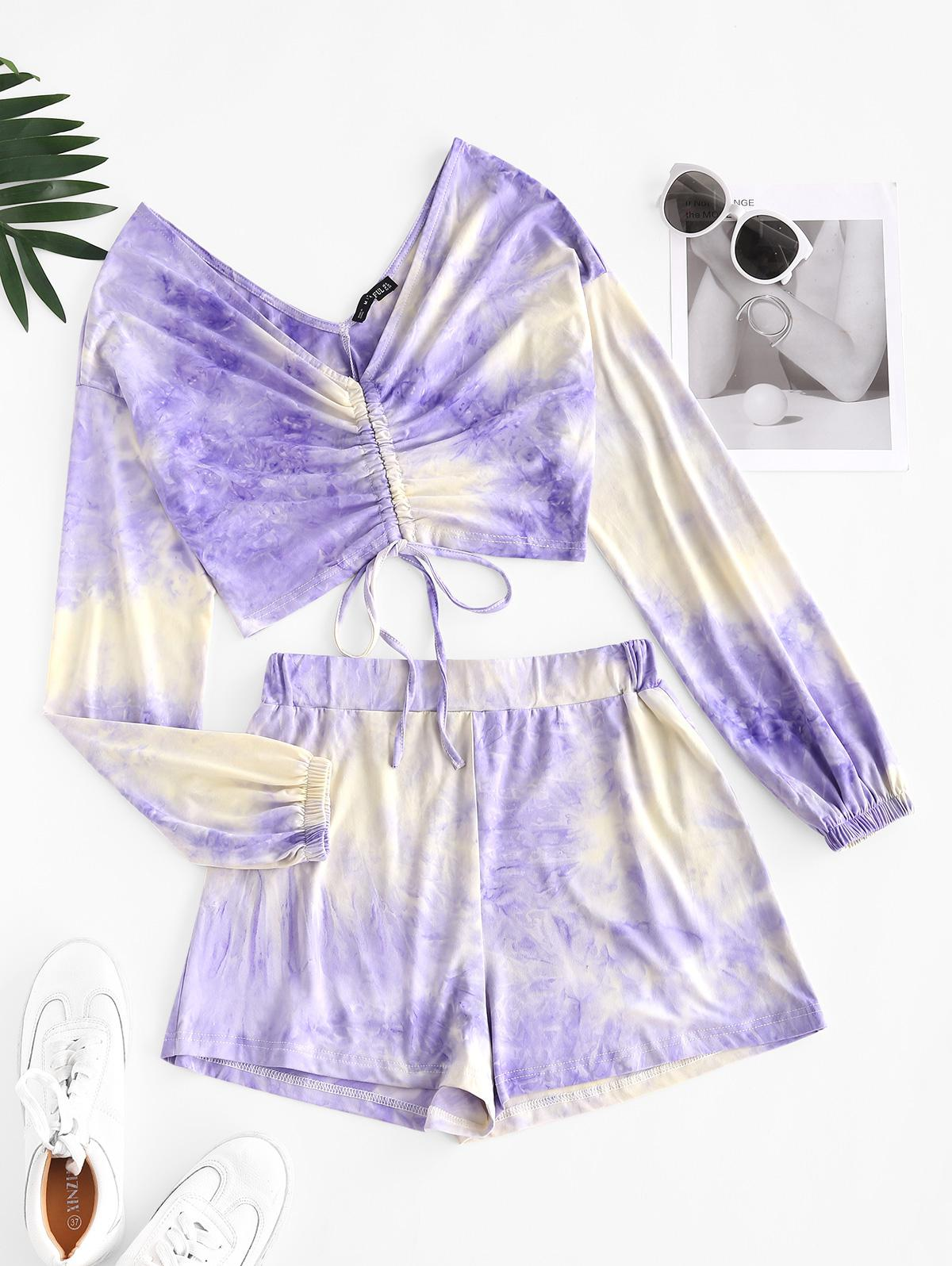 Tie Dye Double V Cinched Two Piece Set