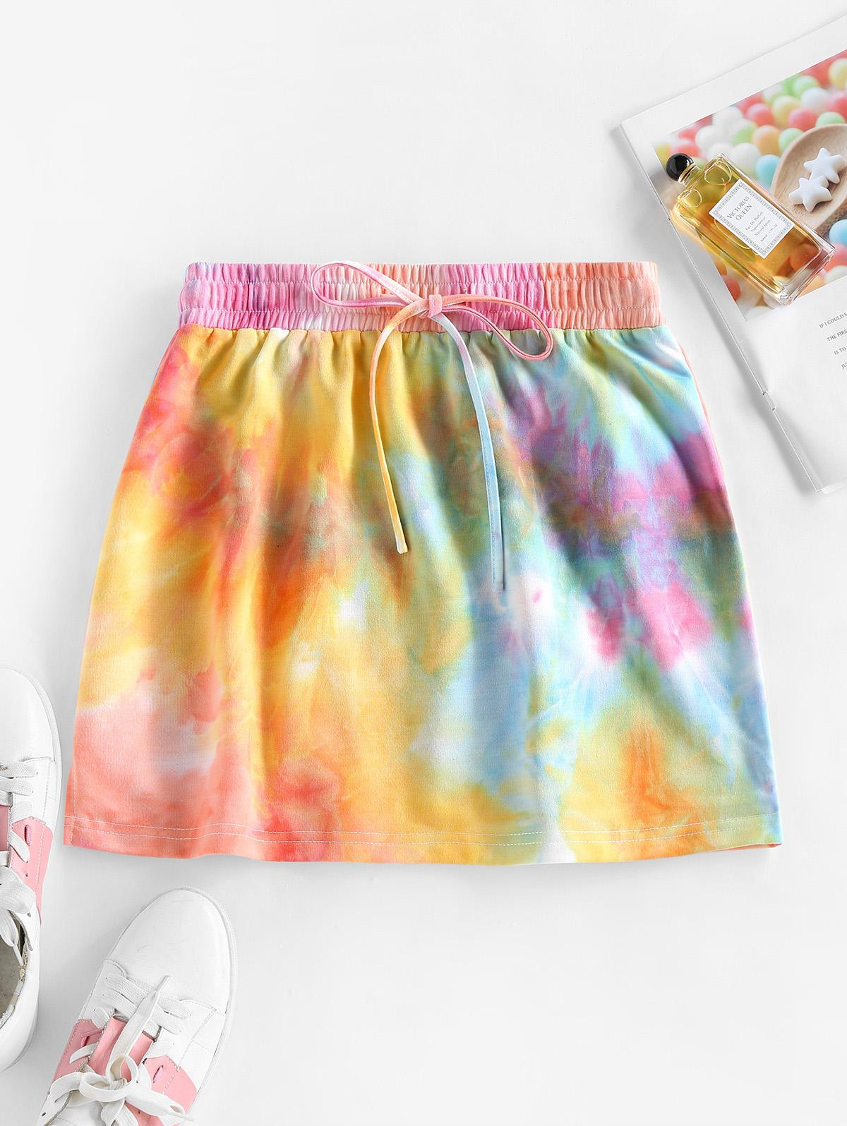 ZAFUL Drawstring Tie Dye A Line Skirt