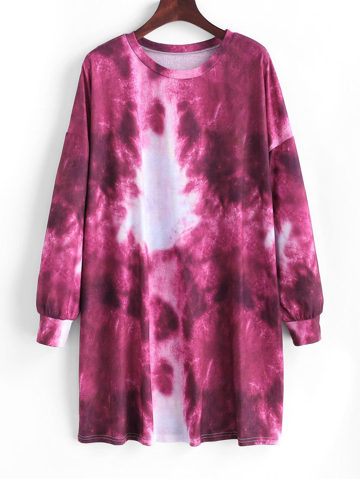Tie Dye Drop Shoulder Shift Tee Dress