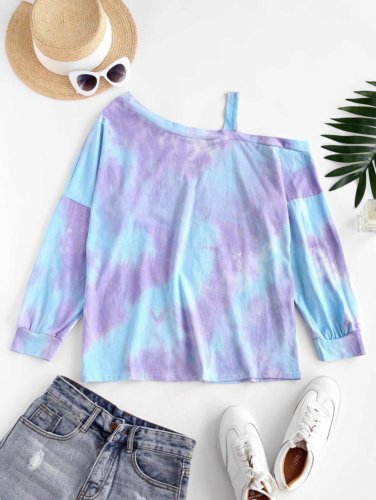 Tie Dye Cold Shoulder Pullover Sweatshirt