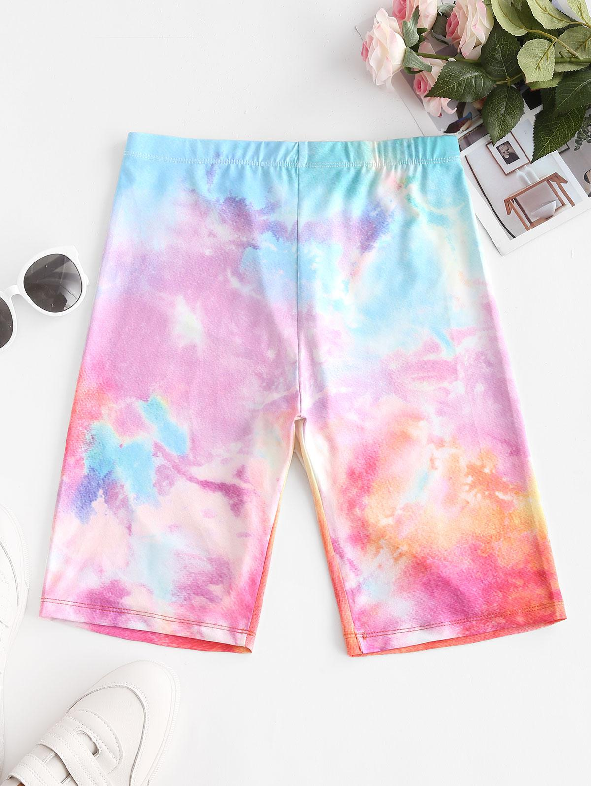 High Waisted Multicolored Tie Dye Biker Shorts