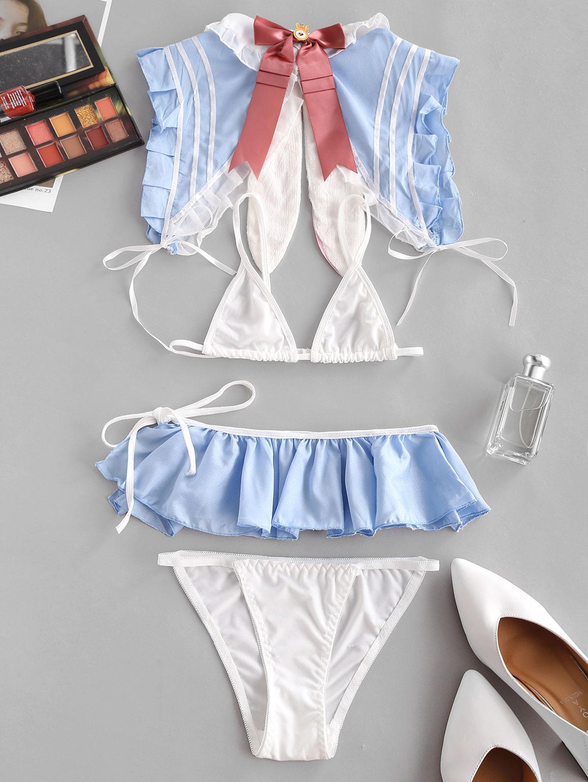 Ruffled Tie Side Lingerie Costume Set