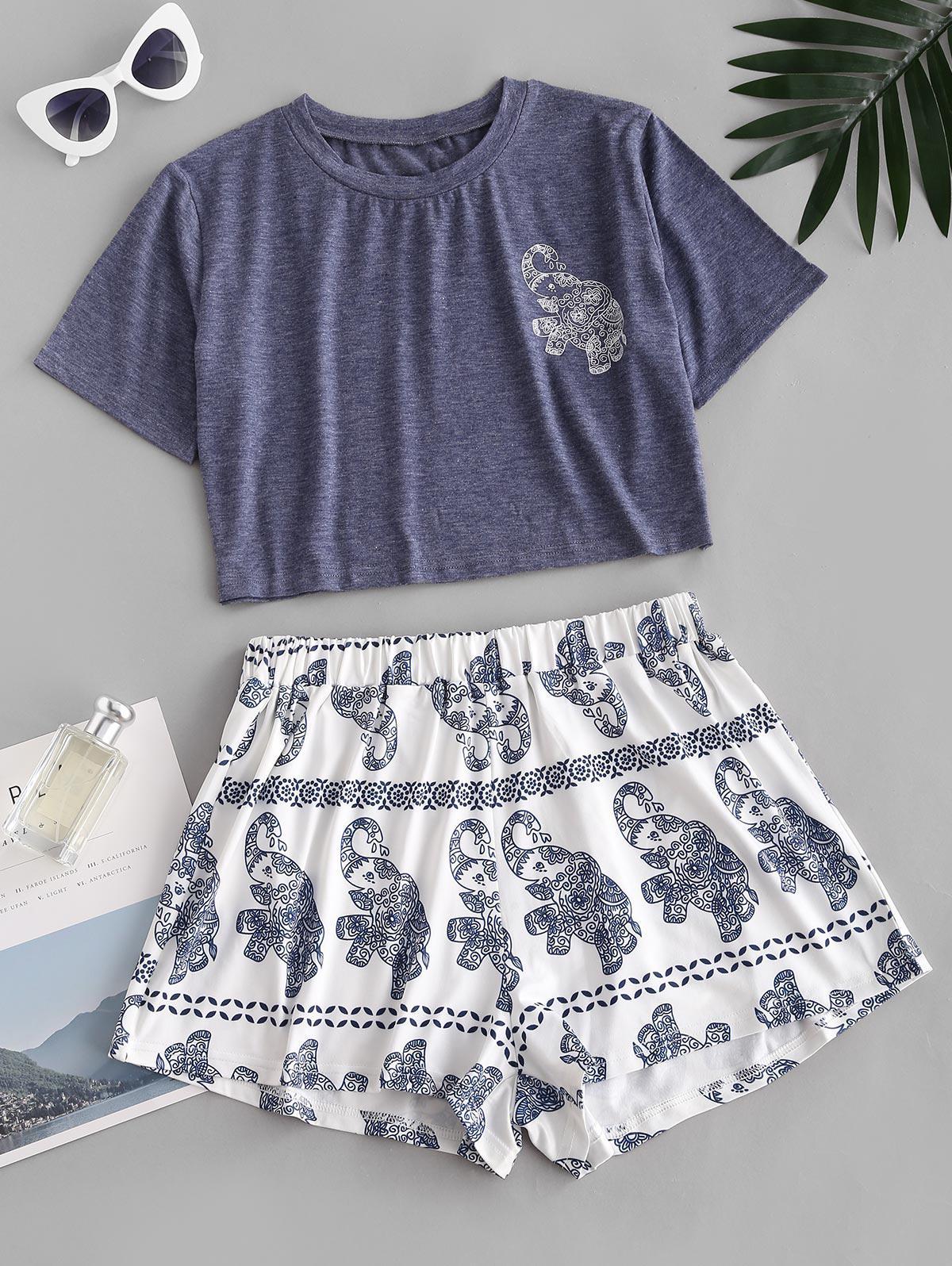 Lounge Owl Butterfly Elephant Print Pajama Set