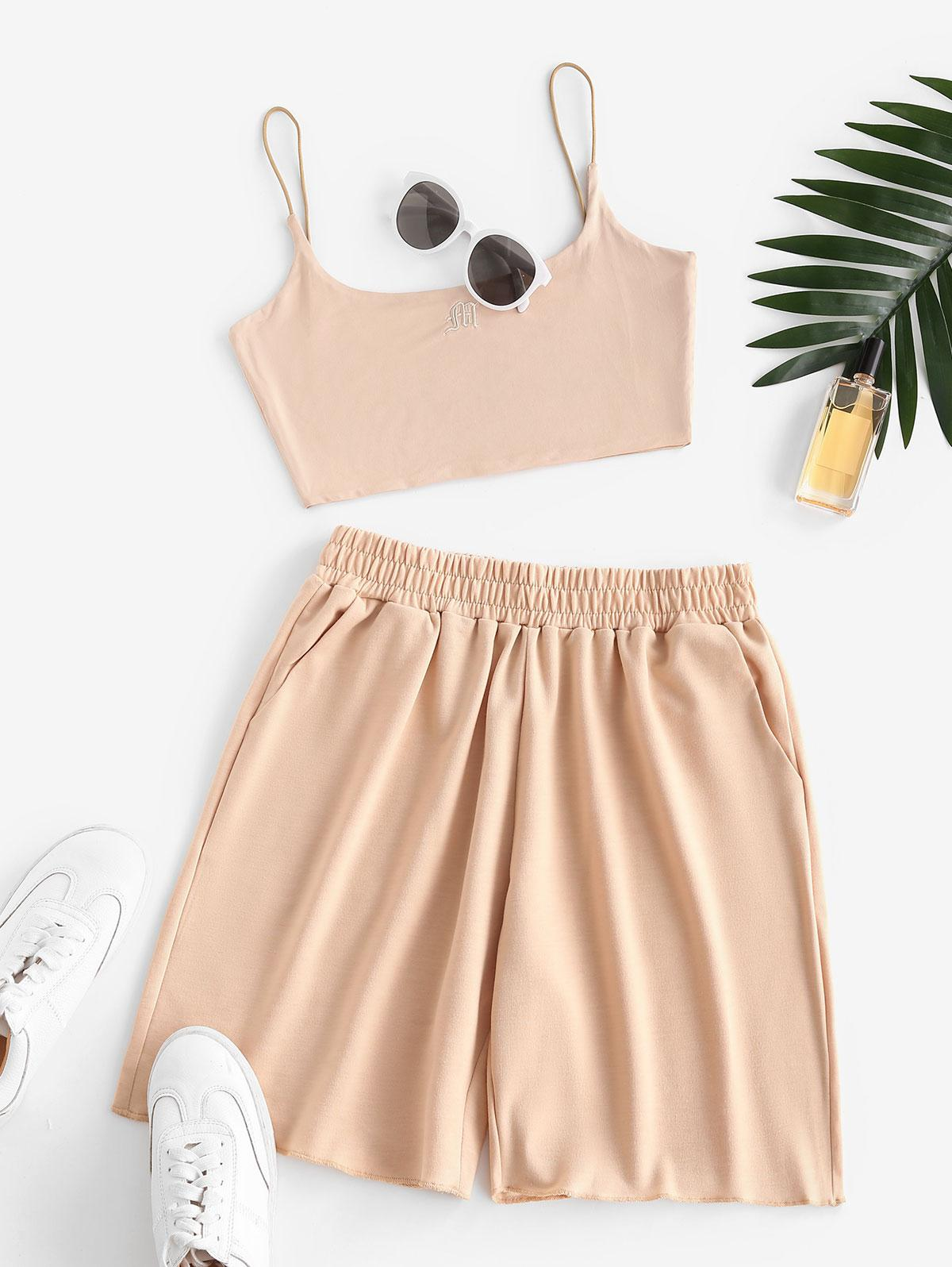 Sweat Bungee Strap Embroidered Two Piece Shorts Set