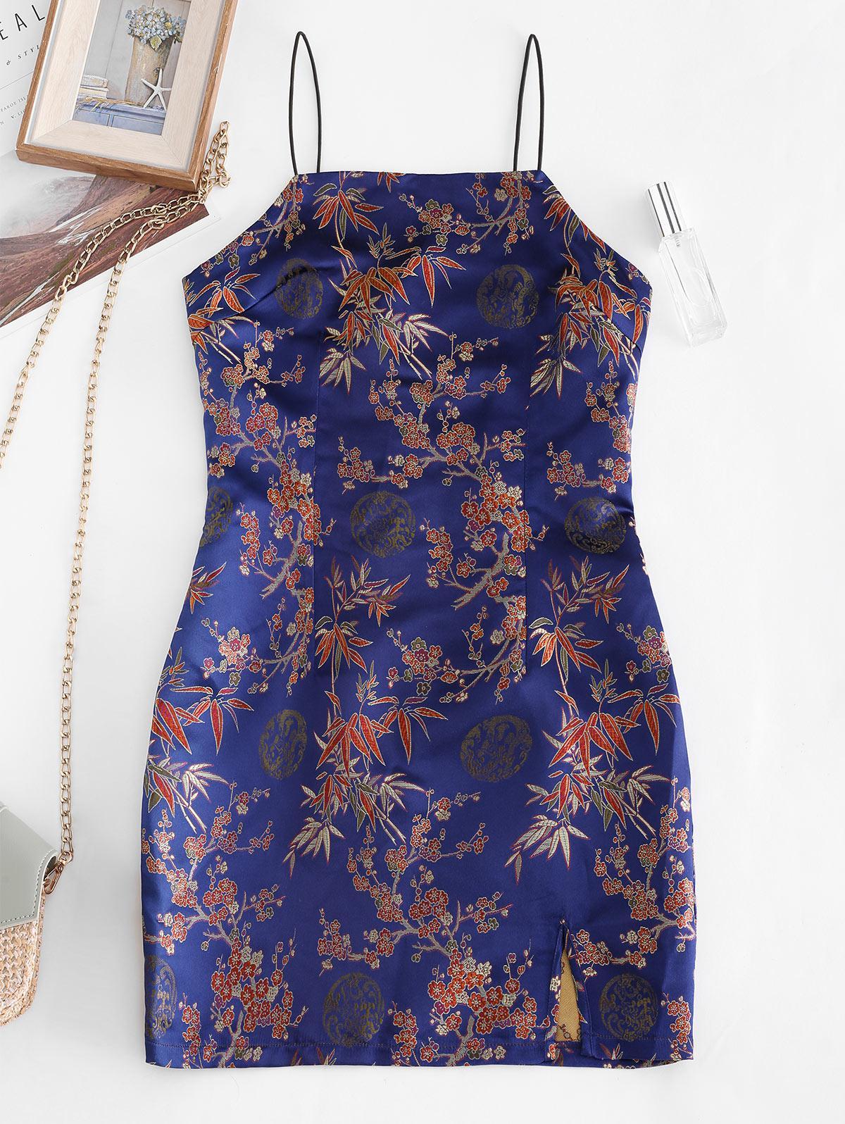ZAFUL Plum Blossom Jacquard Oriental Cami Slit Dress
