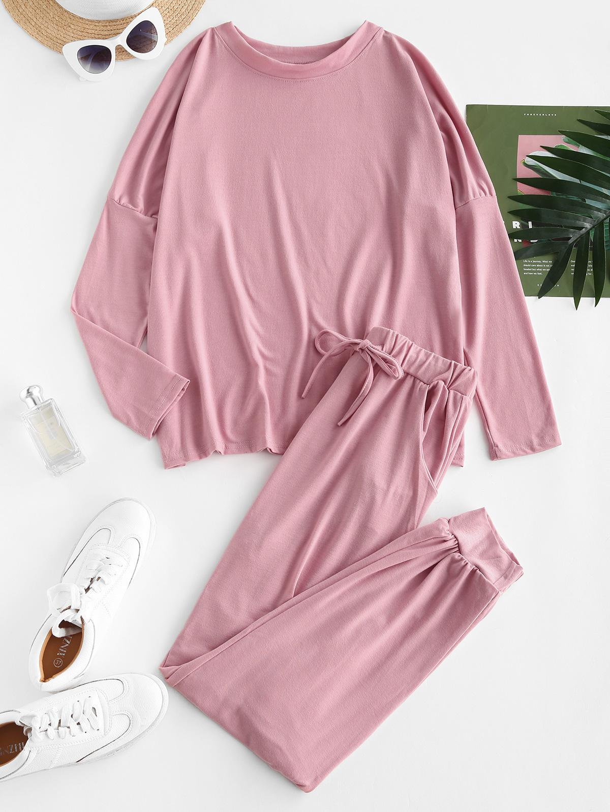 Solid Dolman Sleeve Lounge Two Piece Set