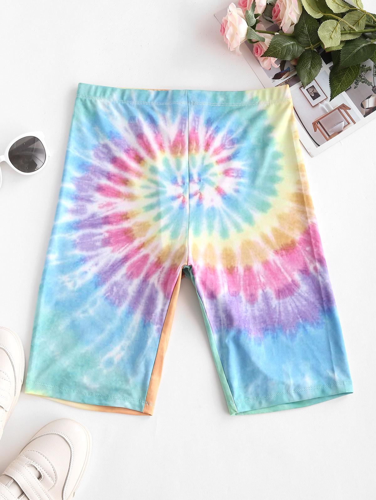 High Waisted Colorful Tie Dye Biker Shorts