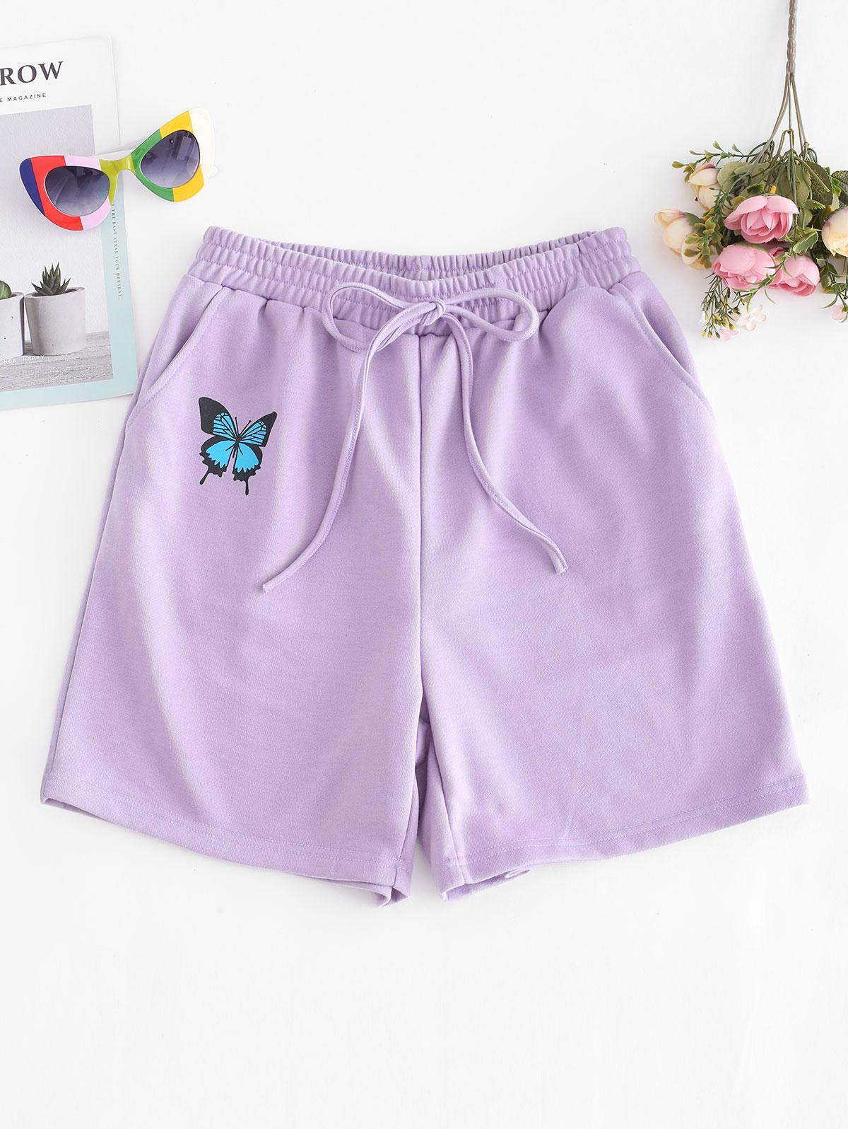 French Terry Butterfly Graphic Pocket Sweat Shorts