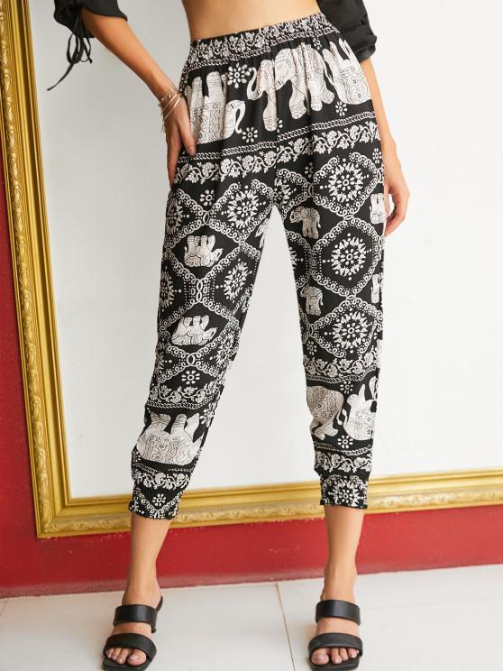 affordable High Waisted Printed Bohemian Jogger Pants - BLACK XL