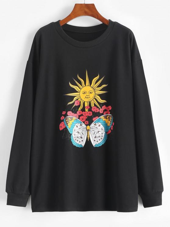 Sun Flower Butterfly Print Drop Shoulder Loose Sweatshirt - أسود S