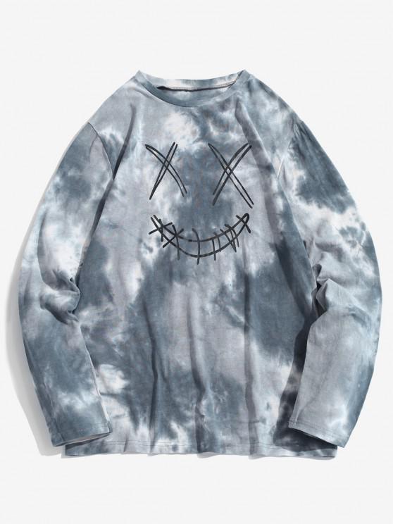 ZAFUL Face Figure Print Tie Dye T Shirt - أزرق فاتح XL