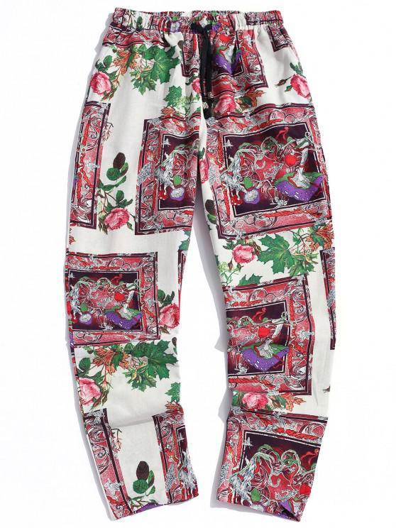 Bohemian Flower Print Drawstring Casual Pants - أبيض XS