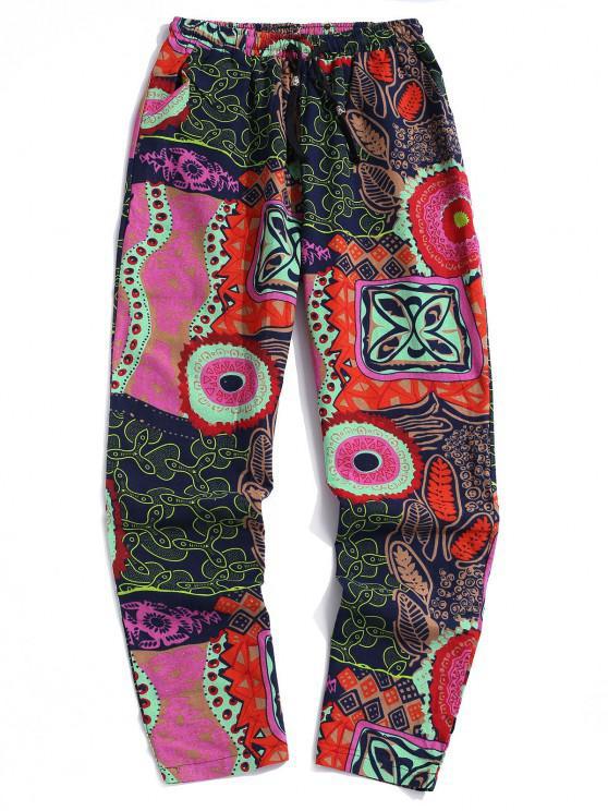 Bohemian Flower Print Drawstring Casual Pants - زهري XS
