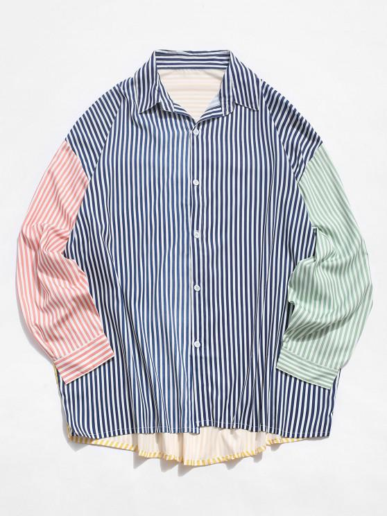 latest Contrast Striped Print Long Sleeve High Low Shirt - WHITE 2XL