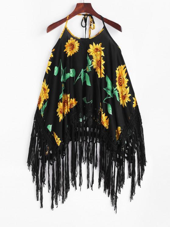 affordable Halter Sunflower Tasseled Trim Top - BLACK ONE SIZE