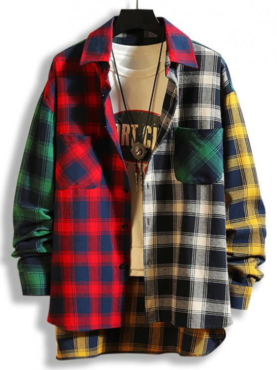 fancy Colorblock Plaid Panel High Low Shirt - RED M