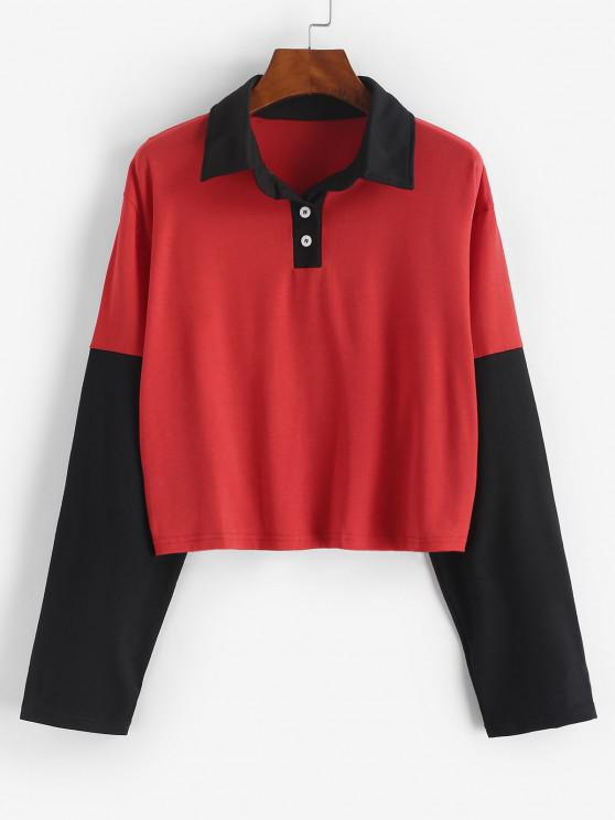 women Button Front Two Tone Sweatshirt - RED S