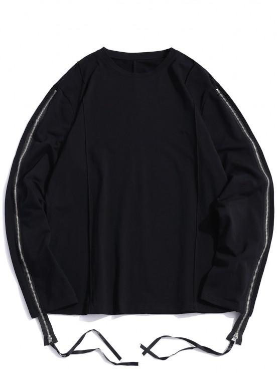 new Pure Color Zipper Sleeve Crew Neck Sweatshirt - BLACK M