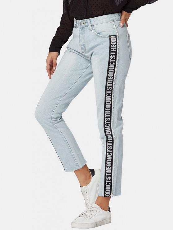Letter Side Distressed Frayed Straight Jeans - أزرق فاتح M