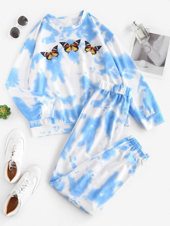 chic Tie Dye Butterfly Sweat Two Piece Set - BLUE S