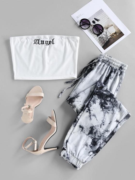 trendy ZAFUL Tie Dye Angel Graphic Strapless Jogger Pants Set - WHITE S