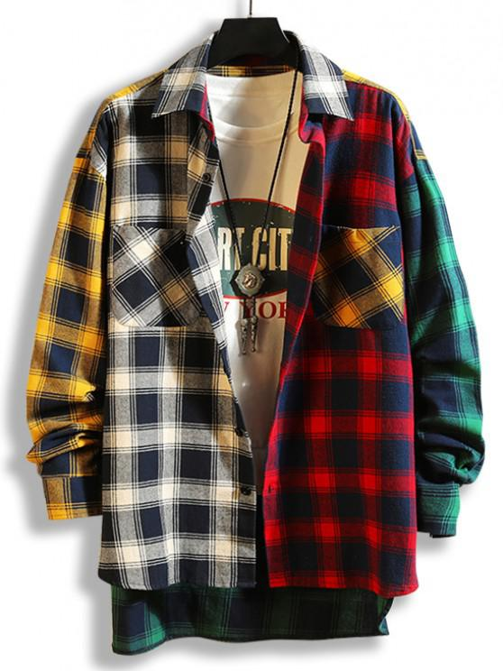 Colorblock Plaid Panel High Low Shirt - أسود XL