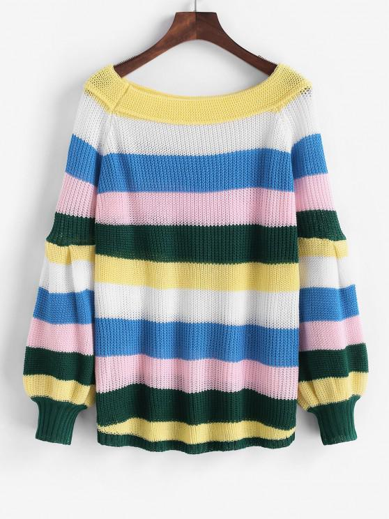 Colorful Striped Lantern Sleeve Jumper Sweater - الأصفر S