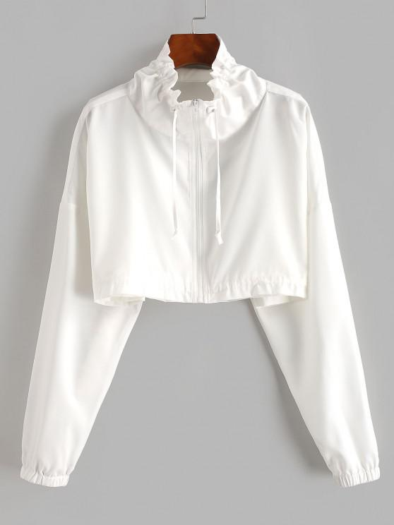 sale Zip Front Drawstring Cropped Jacket - WHITE L