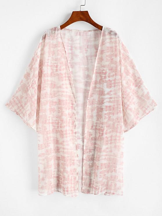 latest Tie Dye Kimono Cover Up - LIGHT PINK L