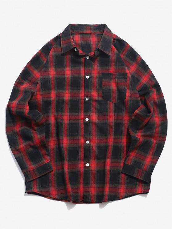 Plaid Print Long Sleeve Pocket Shirt - أحمر 3XL
