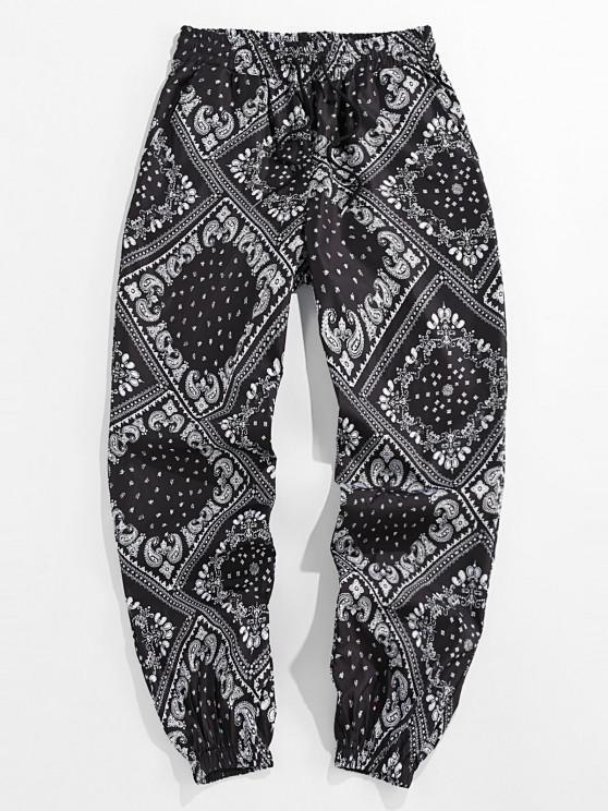 lady ZAFUL Paisley Scarf Print Casual Pants - BLACK 2XL