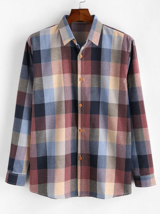 Colorblock Checked Button Up Long Sleeve Shirt - أحمر XS