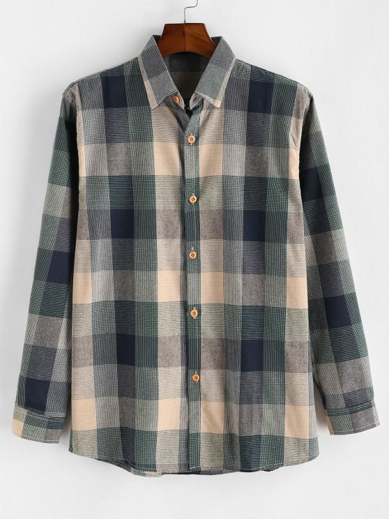 shops Colorblock Checked Button Up Long Sleeve Shirt - BLUE S