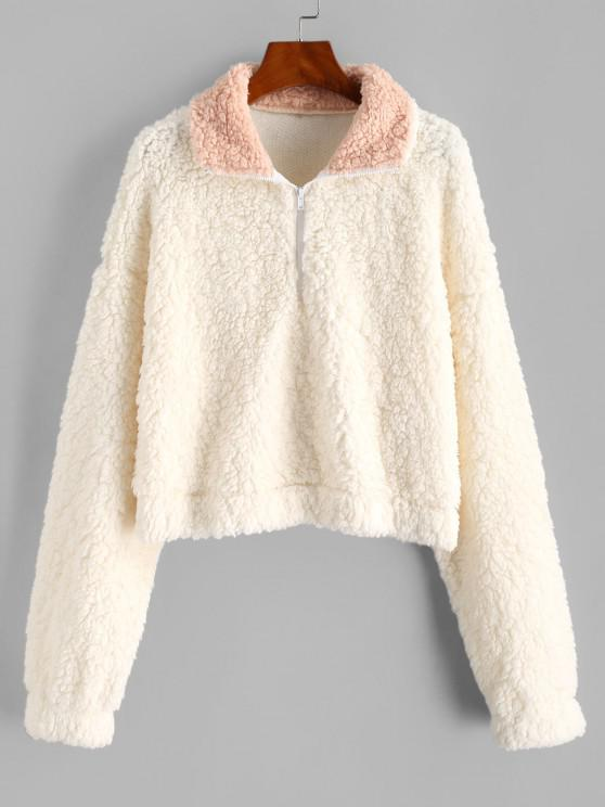 ZAFUL Half Zip Teddy Sweatshirt - أبيض M