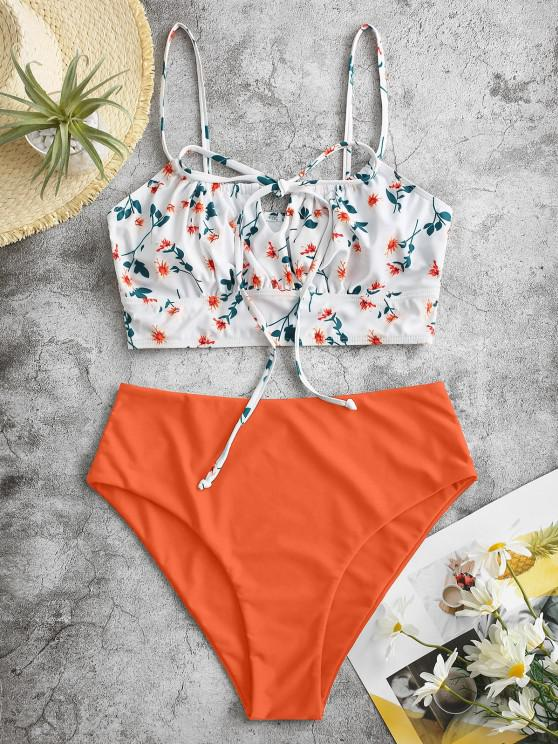 ZAFUL Ditsy Print Tie Tankini Swimwear - البرتقالي M