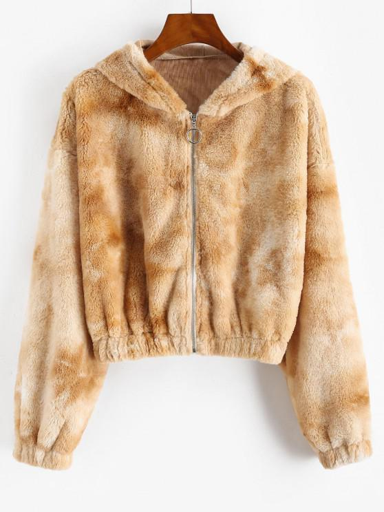 ladies ZAFUL Hooded Tie Dye Faux Fur Coat - TAN M