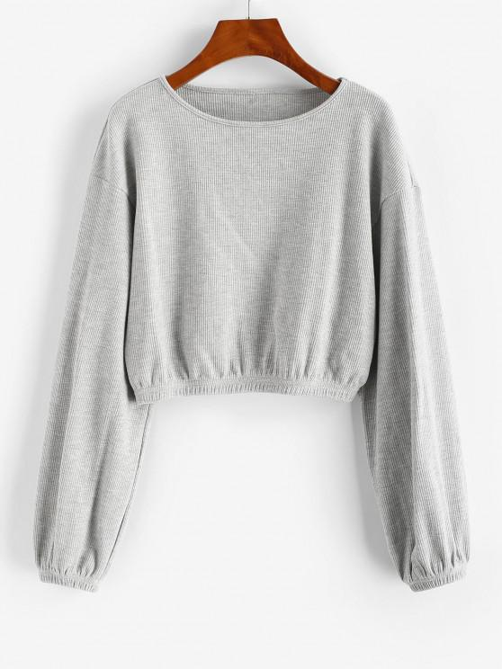 ZAFUL Knitted Crop Sweatshirt - رمادي فاتح L