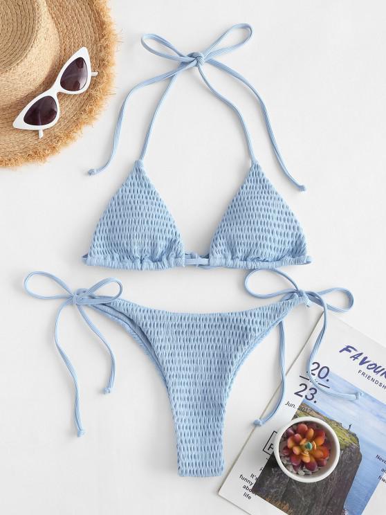 best ZAFUL Skimpy Ribbed Smocked String Bikini Swimwear - LIGHT BLUE S