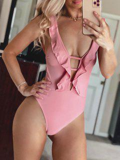 ZAFUL Lattice Criss Cross Ruffle Swimsuit - Pink S