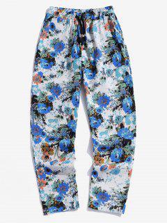 Pantalon Décontracté Imprimé Floral à Cordon - Bleu Xs